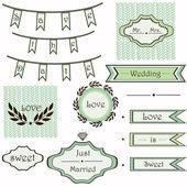 Vintage wedding mint set of elements vector