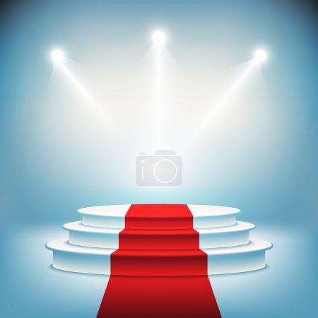 Illustration pour Podium de scène illuminé pour la cérémonie de remise des prix illustration vectorielle - image libre de droit