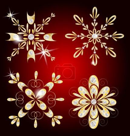 gold and diamond snowflakes for Christmas