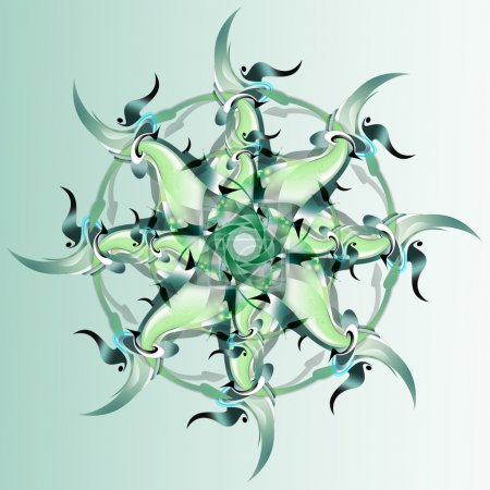 Green ornament in the form of a flower, snowflake or star