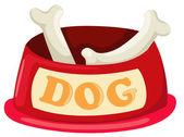 Dog bowl with big bone