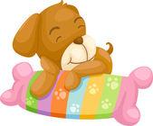 Dog with pillow  Illustraiton