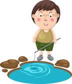 Illustration of isolated boy fishing