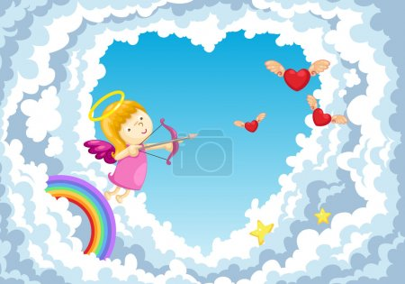 Illustration for Cupid in the clouds background - Royalty Free Image