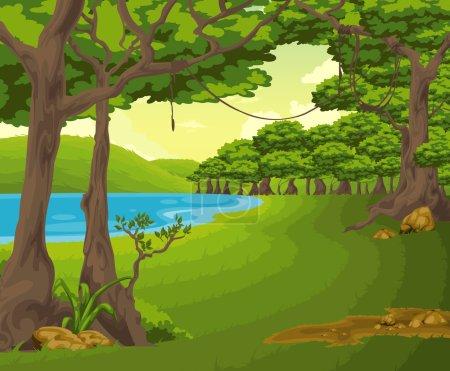 Illustration pour Beau fond de montagne avec arbre - image libre de droit