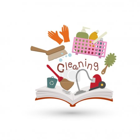 Open book and icons of cleaning.