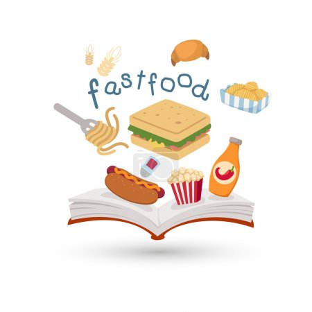 Open book and icons of fast food.