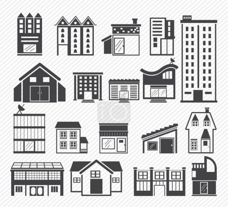 Illustration for Building Icons isolated on  background - Royalty Free Image
