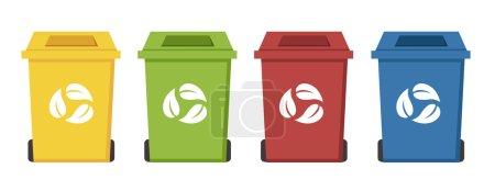 Illustration for Different color recycle bins set illustrtion - Royalty Free Image