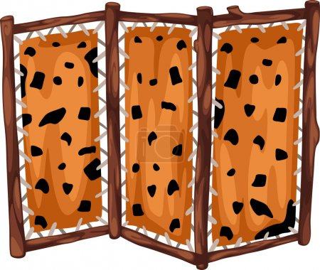 Fabric partition with wooden prehistoric