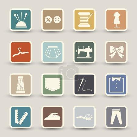 Illustration pour Illustration d'icônes de matériel de couture - image libre de droit