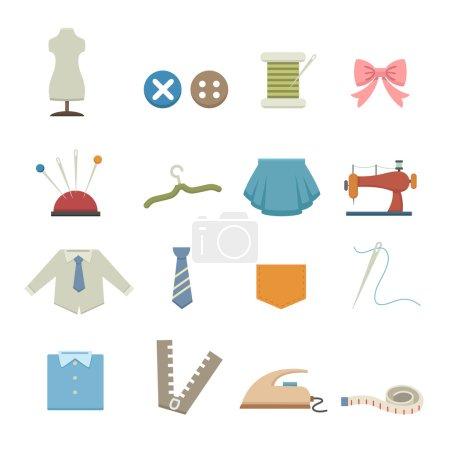 Illustration pour Matériel de couture icônes set illustration - image libre de droit