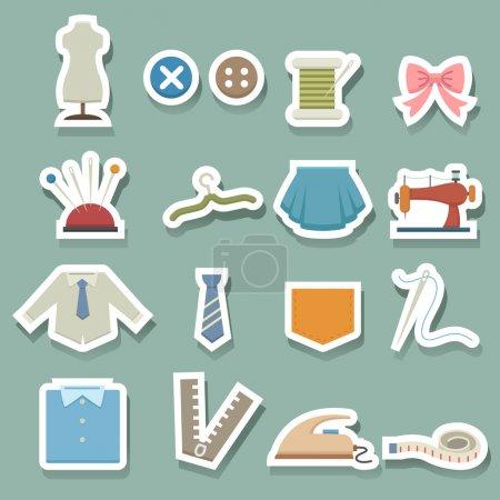 Illustration pour Icônes d'équipement de couture - image libre de droit