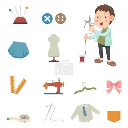 Illustration pour Illustration des icônes des équipements de couture et de couture - image libre de droit