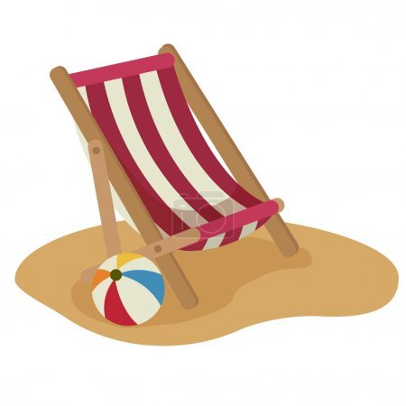 Beach chair and ball vector