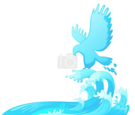 Jumping eagle out of water vector