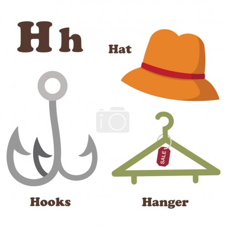 Alphabet H letter.Hanger,Hat,Hooks