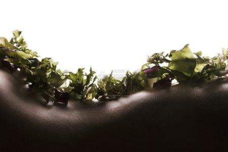 Salad on woman skin