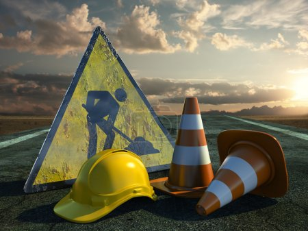 Photo for Very high resolution 3d rendering of two traffic cones, an hard hat, a road sign over white. - Royalty Free Image
