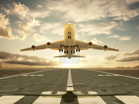 Photo for Very high resolution 3d rendering of an airplane taking off at sunset - Royalty Free Image