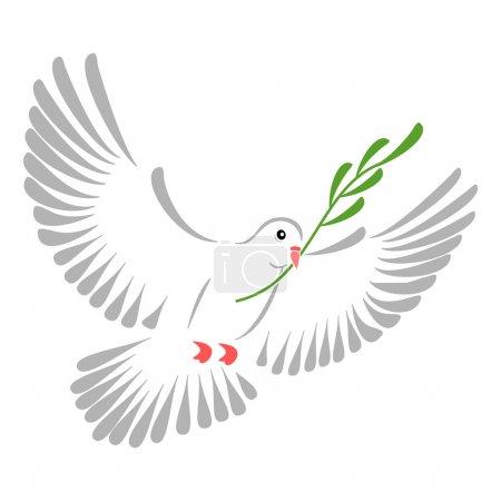 Photo pour Illustration de haute résolution d'une colombe blanche stylisée. - image libre de droit