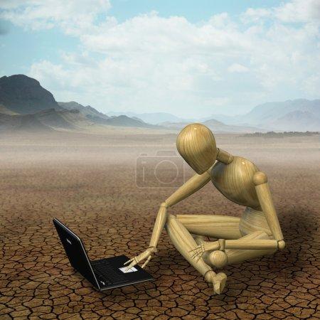 Mannequin working in the desert