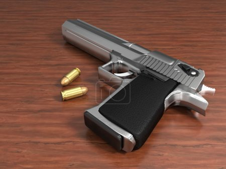 Very high resolution 3d rendering of a gun and two...