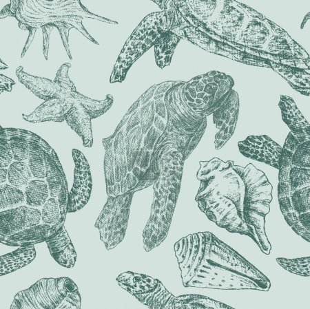 Background with a sea turtles