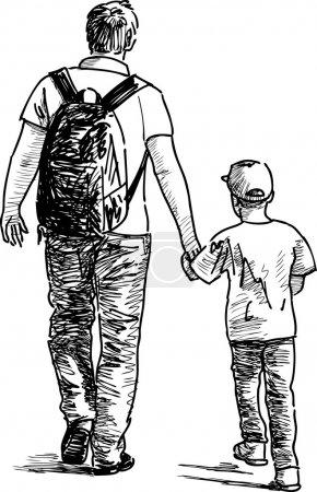 Illustration pour Père et fils. Illustration vectorielle - image libre de droit