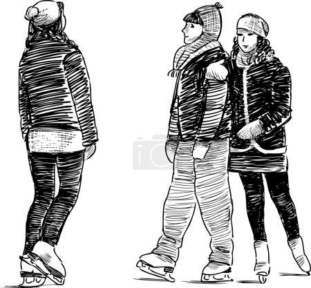 Illustration for Girls on a skating rink. Vector illustration - Royalty Free Image