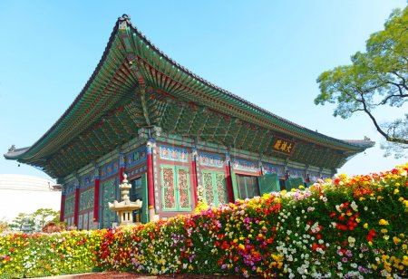 Traditional Architecture Showing Colorful Roof Detail in Seoul, South Korea