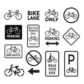 Bicycle signs black and white set vector
