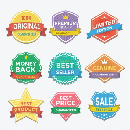 Illustration for Flat color badges and labels promotion design vector - Royalty Free Image