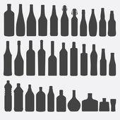 Bottle Silhouette Set Vector