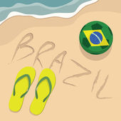 Brazil beach with football and slippers vector