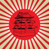 Japan Osaka castle on sun flag vector