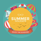 Summer holidays typography with Flat icon summer vacation vector