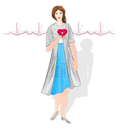femme médecin du vecteur de cardiologie