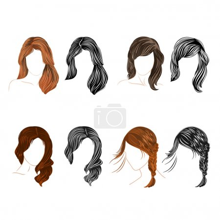 Illustration for Set of four long  hair natural and silhouette attractive Vector Illustration - Royalty Free Image