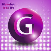 Abstract alphabet set of buttons with letters - letter g
