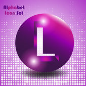 Abstract alphabet set of buttons with letters - letter l
