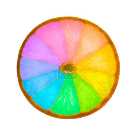 Orange slice as color wheel