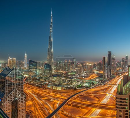 Burj Khalifa Interchange, Tallest Building in the world seen from Sheikh Zayed Road, DUbai, United Arab Emirates