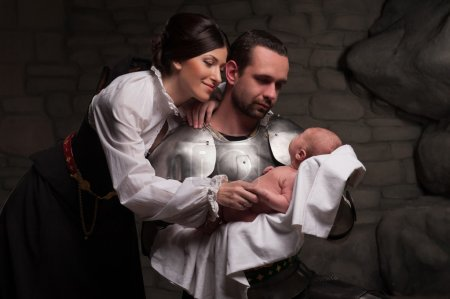 Happy medieval family