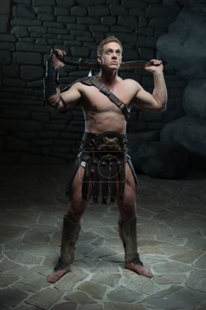 Gladiator with sword posing