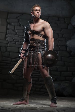 Gladiator with shield and axe