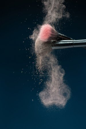 Professional black make-up brush with pink powder in motion isol