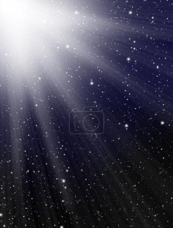 Light on dark blue background
