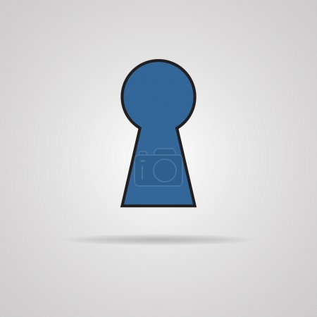 Vector keyhole icon with shadow.