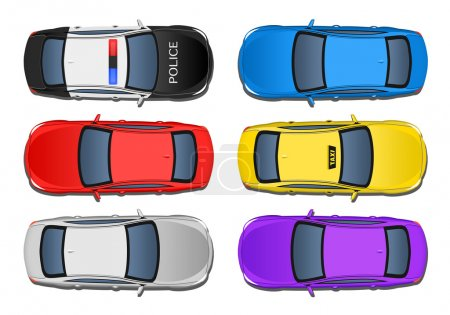 Set of 6 various cars from above view